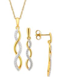 Macy's - Diamond Infinity Jewelry Set (1/4 Ct. T.w.) In 14k Gold-plated Sterling Silver - Lyst