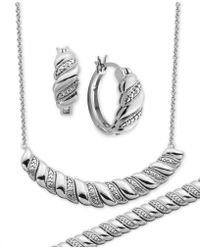 Macy's - Diamond Accent Twist Hoop Earrings, Collar Necklace And Link Bracelet Set In Silver-plate - Lyst
