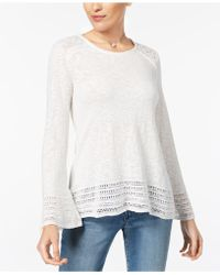 Style & Co. - Cotton Crocheted-trim Sweater - Lyst