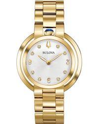 Bulova - Women's Rubaiyat Diamond-accent Gold-tone Stainless Steel Bracelet Watch 35mm - Lyst