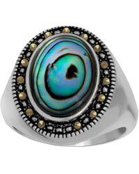 Macy's - Marcasite & Paua Shell Ring In Fine Silver-plate - Lyst