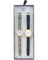 INC International Concepts - Gold-tone Glitter Faux Leather Strap Watch 36mm With Interchangeable Strap, Created For Macy's - Lyst