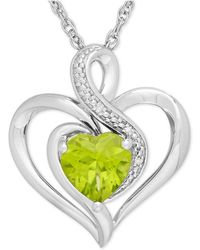 Macy's - Peridot (1-1/3 Ct. T.w.) And Diamond Accent Heart Pendant Necklace In Sterling Silver - Lyst