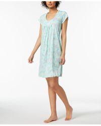 Miss Elaine - Floral-print Ruffle-trim Nightgown - Lyst