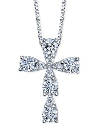 Macy's - Diamond Cross Pendant Necklace (3/8 Ct. T.w.) In 14k White Gold - Lyst