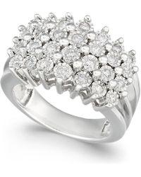 Macy's - Diamond Multi-row Ring (1/2 Ct. T.w.) In Sterling Silver - Lyst