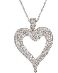 Macy's - Diamond Heart Pendant Necklace (1-1/8 Ct. T.w.) In 14k White Gold - Lyst