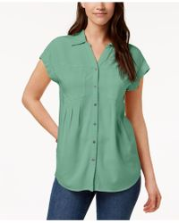 Style & Co. - Pleated Cuffed-sleeve Top, Created For Macy's - Lyst