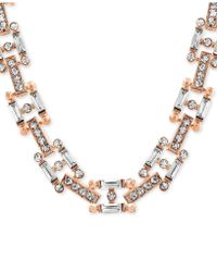 """Steve Madden - Two-tone Crystal 14"""" Link Necklace - Lyst"""