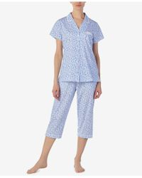 Eileen West - Cotton Printed Cropped Knit Pyjama Set - Lyst