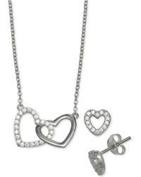 Giani Bernini - 2-pc. Set Cubic Zirconia Heart Pendant Necklace And Matching Stud Earrings In Sterling Silver, Created For Macy's - Lyst