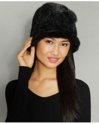 The Fur Vault - Knitted Mink Fur Rosette Hat - Lyst