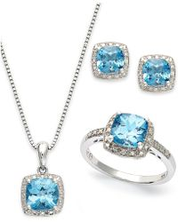 Macy's | Sterling Silver Jewelry Set, Blue Topaz (5-7/8 Ct. T.w.) And Diamond Accent Necklace, Earrings And Ring Set | Lyst