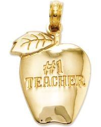 Macy's - 14k Gold Charm, Number 1 Teacher Apple Charm - Lyst