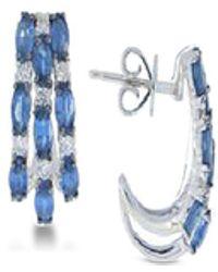 Macy's - Sapphire (2 Ct. T.w.) & Diamond (1/5 Ct. T.w.) Oval Stud Earrings In 14k White Gold - Lyst
