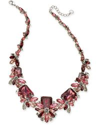 """Charter Club - Silver-tone Crystal & Stone Statement Necklace, 18"""" + 2"""" Extender, Created For Macy's - Lyst"""