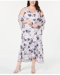 ef77d7b52f6 Lyst - Alex Evenings Embroidered Mesh A-line Dress   Shawl in Metallic
