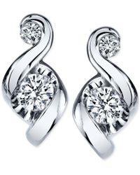 Proud Mom - Diamond Swirl Stud Earrings (1/4 Ct. T.w.) In 14k Gold Or White Gold - Lyst