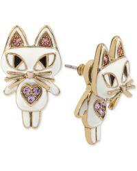 Betsey Johnson - Gold-tone White Enamel Cat Earring Jackets - Lyst