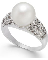 Charter Club - Silver-tone Pavé & Imitation Pearl Ring, Created For Macy's - Lyst