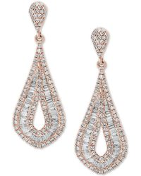 Effy Collection - Classique By Effy® Diamond Baguette Drop Earrings (1-1/2 Ct. T.w.) In 14k Rose Gold - Lyst