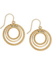 Macy's - Orbital Hoop Drop Earrings In 10k Gold - Lyst