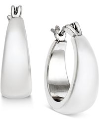 Charter Club - Silver-tone Satin Finish Hoop Earrings - Lyst