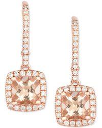 Macy's - Morganite (1-3/4 Ct. T.w.) & Diamond (3/8 Ct. T.w.) Drop Earrings In 14k Rose Gold - Lyst