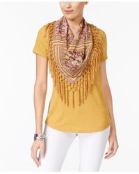 Style & Co. - Detachable-scarf Fringe Top - Lyst