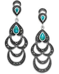 Macy's - Manufactured Turquoise & Marcasite Scalloped Dangle Drop Earrings - Lyst