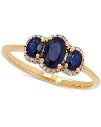 Macy's - Sapphire (1-1/10 Ct. T.w.) & Diamond (1/10 Ct. T.w.) Ring In 14k Gold - Lyst