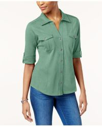 Style & Co. - Petite Jersey Utility Shirt, Created For Macy's - Lyst