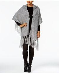 Steve Madden - Fuzzy Knit Hooded Cape - Lyst