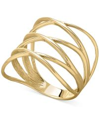 Macy's | Openwork Crossover Ring In 14k Gold | Lyst