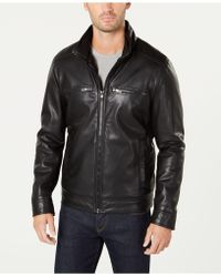 Kenneth Cole - Pebbled Faux-leather Jacket - Lyst
