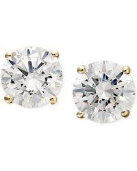 Arabella - 14k Gold Earrings, Swarovski Zirconia Round Stud Earrings (1-3/4 Ct. T.w.) - Lyst
