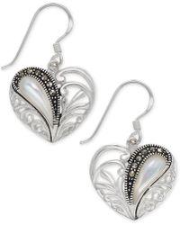 Macy's - Marcasite & Mother-of-pearl Heart Drop Earrings In Fine Silver-plate - Lyst