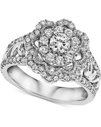 Macy's - Diamond Floral Engagement Ring (1 Ct. T.w.) In 14k White Gold - Lyst