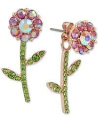 Betsey Johnson - Rose Gold-tone Crystal Flower Front-and-back Earrings - Lyst