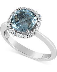 Macy's | Aquamarine (2-1/4 Ct. T.w.) And Diamond (1/5 Ct. T.w.) Ring In 14k White Gold | Lyst