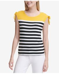 6f3b2c19ddb99 Calvin Klein - Colorblocked Striped Tie-shoulder Top - Lyst