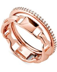 Michael Kors - Mercer Link Double Row Sterling Silver Ring - Lyst