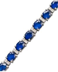 Effy Collection - Sapphire (12 Ct. T.w.) And Diamond (1/4 Ct. T.w.) Tennis Bracelet In 14k White Gold - Lyst