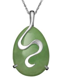 Macy's - Sterling Silver Necklace, Jade Oval Snake Pendant - Lyst