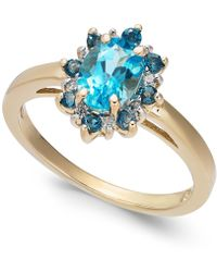 Macy's - Blue Topaz (1-1/4 Ct. T.w.) & Diamond Accent Ring In 14k Gold - Lyst