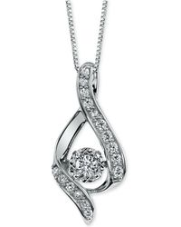 Macy's - Diamond Ribbon Pendant Necklace In 14k Gold Or White Gold (3/8 Ct. T.w.) - Lyst