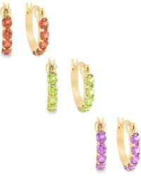 Macy's - Multi-stone Hoop Earrings Set In 18k Gold Over Sterling Silver - Lyst