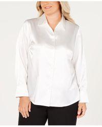 Kasper - Plus Size Button-front Tailored Blouse - Lyst