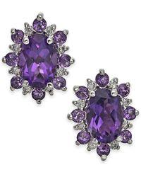 Macy's - Amethyst (1-1/5 Ct T.w.) & Diamond Accent Stud Earrings In 14k Gold - Lyst