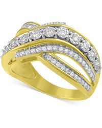 Macy's - Diamond Crisscross Statement Ring (1/5 Ct. T.w.) Ring In 14k Gold-plated Sterling Silver - Lyst